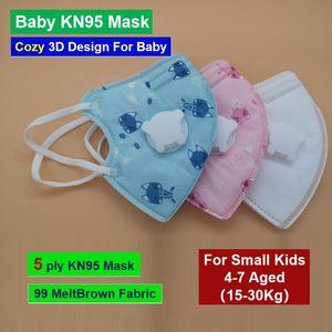 4-8 Aged crianças pequenas bebê não-tecidos Meltbrown Tecido de 5 dobras Máscara Facial 3D com luz Respire Máscara vlave PM2.5 Anti Nevoeiro Poeira