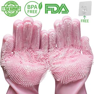 Magic Silicone Gloves Household Dishwashing Rubber Scrubbing Kitchen Housework Cleaning Gloves