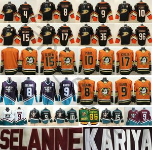 Al por mayor de Anaheim Ducks # 15 Ryan Getzlaf 17 Ryan Kesler 8 Teemu Selanne 4 Fowler Charlie Conway Gibson 9 Paul Kariya cosido los jerseys del hockey