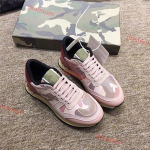 Valentino 2020 Hococal Red Shoes Fundo de couro Wedding High Low Cut Suede Pico Luxo Shoes Mulheres Partido Mens Esporte Tênis