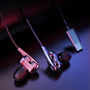Eating chicken game headset in-ear subwoofer with wheat wired high quality mobile phone 3.5mm type-c interface headset