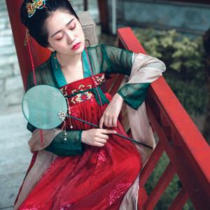 Hanfu Женщины Китайский национальный танец костюм Вышивка Этап одежда для певцов Oriental Performance Одежда Folk