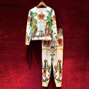 Svoryxiu Fashion Runway Autumn Winter Pants Suits Women's Vintage Crown Animal Printing Casual Motion Two Piece Set Female CX200701