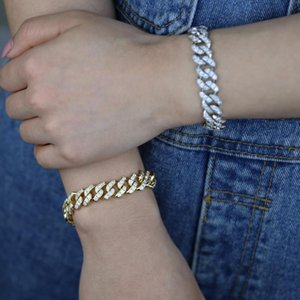 New hip hop women cuban chain bracelet wholesale iced out wide band miami chain bracelet bangle in gold silver color