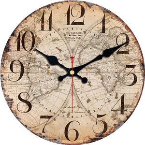 14inch Antike Uhren Silent World Map Sailboat Design Uhr Hauptdekor für Büro-Studien-Küche Große Kunst Wanduhren Kein Ticken