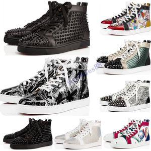 Nuevos zapatos de diseño de cuero tachonado Spikes rojas de la manera de gamuza para mujer para hombre de los zapatos de fondo plano de lujo tamaño de las zapatillas de deporte los amantes del partido 36-47 con la caja