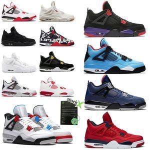 Nike Air Jordan Retro 4 Homens Sapatos De Basquete Travis x Calçados Esportivos Houston Oilers 4s Cacto Jack Raptors Dinheiro Puro Cimento Preto Gato Bred Motosports Sneakers