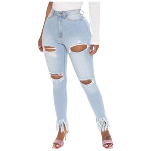 Fashion Ripped Jeans for Women Sexy Hole Tassel Button Pocket High Waist Jeans Woman Casual Denim Pants Skinny Slim mujer