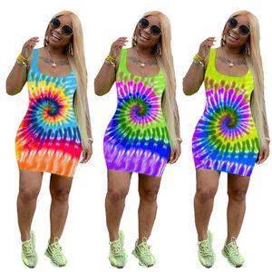 Fashion Women Halter Dress Low Bosom Positioning Printing Dresses Colorful Sunflower Skirt Sleeveless Club Wear Mini Party Dresses Summer
