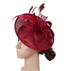 Feather Sinamay Fascinator Hat Esagerato Over-size Sinamay Floral Disc Fascinators Inghilterra Accessori per capelli nobili per spettacoli teatrali Ca