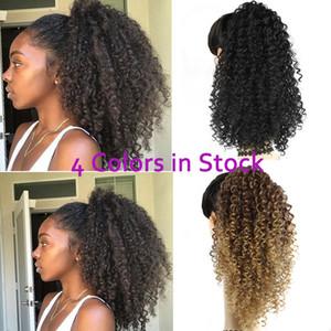 Afro Kinky Curly Hair Extension cordão Puff Rabo clipe sintético em Pony Cauda extensões do cabelo Africano americano