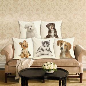 Ev Dekorasyonu Güzel Köpek Baskılı Yastık Kapak Keten Yastık Kılıfı Dekoratif Koltuk Yastık Kılıf için Yastık Kapak atmak