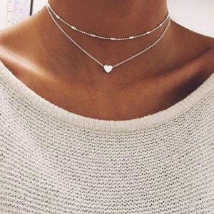 Women Bohemian Simple Pendant Necklace Copper Peach Heart Style Necklace Geometric multilayer Clavicle Chain Fashion Jewelry