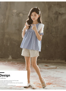 2020 new summer Korean version of the foreign girl suit in the big boy short-sleeved skirt T-shirt shorts children two-piece suit
