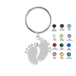 100% нержавеющей стали Key Chain Baby Foot Charm с Rhinestone Toe Брелок персонализировать отполированное зеркало Оптовая 10шт