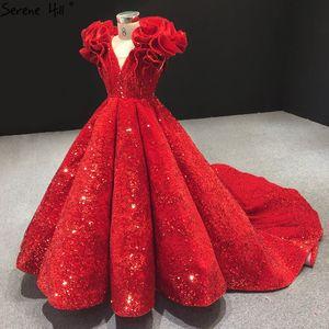Red Sequined V-Neck Sleeveless Flower Girls Dress Long Luxury Piano Costume First Communion Dresses For Girls 2020 BHTA0042