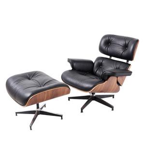Eames espreguiçadeira com soft couro pé-descanso e girar 360 ° escritório estudo traseiro ajustável sala cadeira de mobiliário sofá