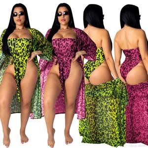 HISIMPLE 2019 Women women summer beach tracksuit leopard print strapless bodysuit two piece set cloak swimsuit tracksuit Chiffon outfits