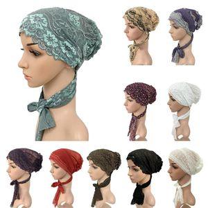 ملابس عرقية نساء قبعة مسلم الحجاب الأزهار الدانتيل تمتد عمامة قبعة الإسلام بينيا العرب أغطية الرأس ذيل رمضان