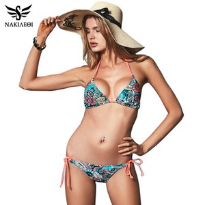 NAKIAEOI Sexy Bikinis Women Swimsuit 2020 Beach Wear Bathing Suit Push Up Swimwear Female Printed Brazilian Bikini Set Swim Wear