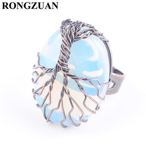 RONGZUAN Adjustable Ring Natural Stone Opal Bead Copper Antique Rings for Women Man Finger Jewelry Copper Wire Wrapped Tree of Life DX3054