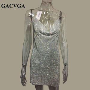 Gacvga 2019 Cristal Titulaire En Métal Brillant D'été Robe Femmes Plage Robe Pailletten Mini Sexy Parti Vêtements Vestidos Y19070901
