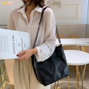 High Capacity Women Autumn Simple Crossbody Bag Casual Large Capacity Shoulder Package Pu Leather Bag Bucket Bag Handbag