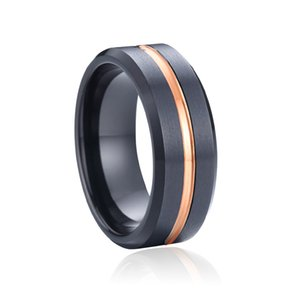 8mm Alliances mens tungsten carbide ring male love black rose gold color wedding band jewelry promise couple ring
