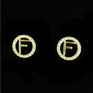 New style circle pearl letter earrings high sense French net red fashion temperament niche earrings female
