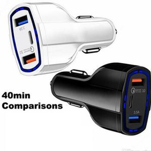 QC3. 0 Quick Charge Adapter 2 USB Port +Type-C Fast Car Cigarette 5V / 3.5 A USB Quick Charge 3.0 Car-Charger быстрая зарядка