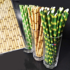 Paper Quality Straw Multi Colors Bamboo Pattern Papers Straws Green Cusp Head Flat Mouth Suction Tubes 0 06xs L1