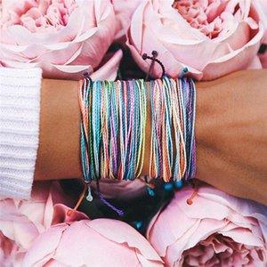 Tópico cera tecido pulseira artesanal Multilayer Amizade Jóias Wax Cordas Pulseiras Multicolour ajustável pulseira trançada AHN02