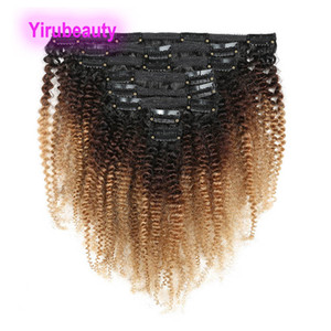 Afro Kinky завитые 1B / 4/27 перуанский человеческих волос Ombre Цвет Clip-на наращивание волос 10-22inch 1b 4 27