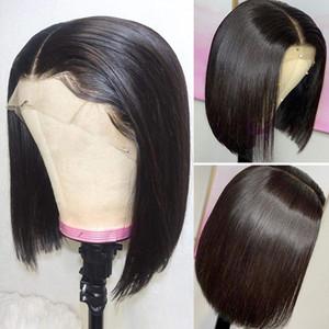 150 % -200 % 밀도 Bob 가발 13x4 레이스 프론트 인간의 머리 가발 흑인 여성을위한 짧은 똑 바른 정면 가발
