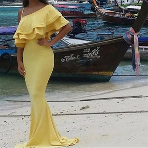 2020 Sexy Mermaid Evening Dresses One Shoulder Floor Length Party Dresses Custom Made Plus Size Prom Party Gowns