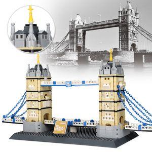 Granule Intelligence Crianças Brinquedos Famosos Kids Bridge Bridge Tower 969pcs Small London Montando 03 Blocos Arquitetura Brinquedos de Ogmge