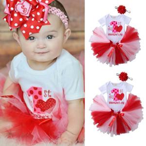 My 1st День святого Валентина Baby Girl одежда Ползунки Пачка юбки партии 3шт Outfit Одежда для новорожденных