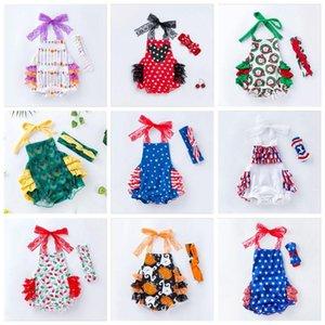 Одежда Set Девочки Ins лето младенческой ползунки 4 июля День независимости Комбинезоны Малыша американский флаг кружева Romper ободки C598