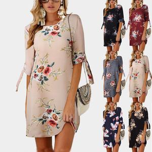 새로운 패션 플러스 사이즈 여성의 보헤미안 쉬폰 꽃 T 셔츠 3/4 슬리브 느슨한 블라우스 드레스 탑