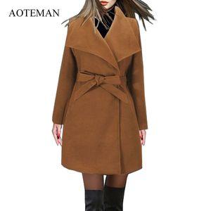 AOTEMAN Lange Wintermantel Frauen Neue Mode Lässig Vintage Gürtel Feste Jacken Blazer Elegante Büro Damen Mantel Casaco Feminino