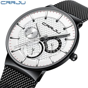 Relogio Masculino CRRJU Hommes Montres Top Marque de luxe ultra-mince montre-bracelet chronographe Sport Montre erkek Saati reloj hombre