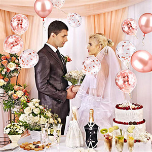 Rose Gold Latex Curtain Confetti Heart Foil Balloons Love Bride Valentines Day Birthday Party Decoration Kids Baby Shower Favor
