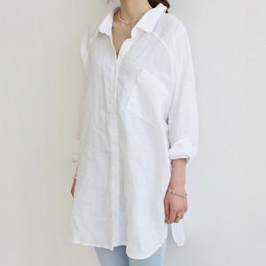 Blusa de grandes dimensões para mulher solta grande algodão de linho manga longa cor sólida