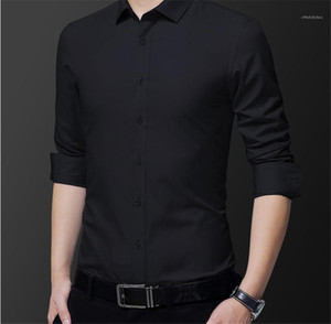 Dress Shirts Fashion Turn Down Collar Mens Shirts Single Breasted Long Sleeve Males Clothing Mens Solid Color