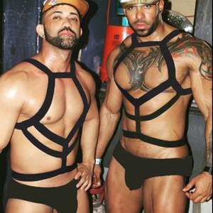 Nylon sexy corpo Chest Harness Uomini elastico spalla muscolare cinghia del cablaggio del Costume di scena Notte di Clubwear del partito di Cosplay Bondage Belt