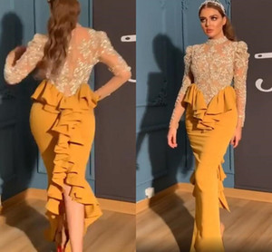 Arabic Aso Ebi Evening Dresses 2020 Modern High Neck Ruffles Back Mermaid long Sleeve Lace Stain Sexy Prom Reception Party Gowns