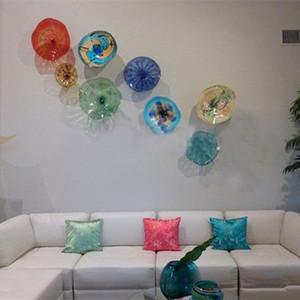 Placas de la India de cristal de Murano de colores decorativos Tiffany Murano Glass Art Pared flor de la mano moderna Blow vidrio del arte abstracto de la pared colgantes placas