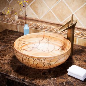 Engravin lotus leaf China Artistic Europe Style Counter Top porcelain wash basin bathroom sinks ceramic art ceramic vessel sink