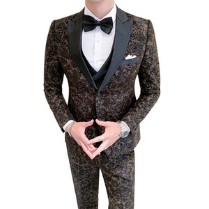 QJ Cinga бренд мужской 3 шт, свадьба благородный мужчина платье цветок пальто с брюками и размер жилет S-5XL