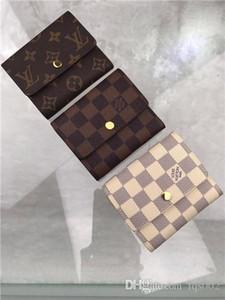 Heiße Frauen Portemonnaie Designer Luxus-Tasche Geldbörse aus echtem Leder-Kartenhalter Luft Stern 7264991 N63241 LOU Serie Größe 11x9cm mit Box